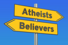 Atheists or believers concept on the signpost, 3D rendering Stock Photos
