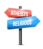 Atheists and religious street sign illustration Royalty Free Stock Image