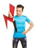 Athelete holding arrow as symbol Stock Images
