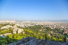 Athen. Ansicht zu Areopagus und Stadt von Propylaea Lizenzfreie Stockbilder