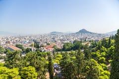 Athen. Ansichtstadt von Areopagus Stockfotografie