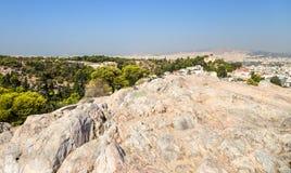 Athen. Ansichtstadt von Areopagus Stockbilder