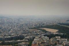Athen deckte im Rauche ab Stockbilder