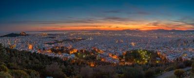 Athen an der blauen Stunde Lizenzfreies Stockbild