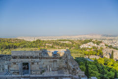Athen. Eingang zur Akropolise und zur Ansicht der Stadt Stockfoto