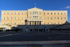 ATHEN, GRIECHENLAND - 19. JANUAR 2017: Das griechische Parlament in Athen, Griechenland Stockfoto