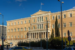 ATHEN, GRIECHENLAND - 19. JANUAR 2017: Das griechische Parlament in Athen, Griechenland Lizenzfreie Stockfotografie