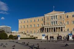 ATHEN, GRIECHENLAND - 19. JANUAR 2017: Das griechische Parlament in Athen, Griechenland Stockfotos