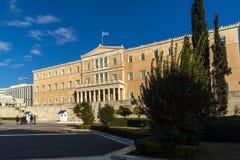 ATHEN, GRIECHENLAND - 19. JANUAR 2017: Das griechische Parlament in Athen, Griechenland Stockbild
