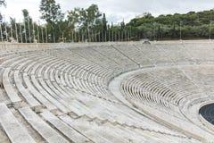 ATHEN, GRIECHENLAND - 20. JANUAR 2017: Erstaunliche Ansicht von Stadion oder von kallimarmaro Panathenaic in Athen Lizenzfreie Stockfotos