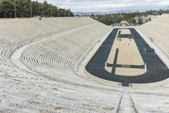ATHEN, GRIECHENLAND - 20. JANUAR 2017: Erstaunliche Ansicht von Stadion oder von kallimarmaro Panathenaic in Athen Lizenzfreies Stockbild
