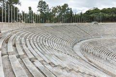 ATHEN, GRIECHENLAND - 20. JANUAR 2017: Erstaunliche Ansicht von Stadion oder von kallimarmaro Panathenaic in Athen Lizenzfreie Stockbilder