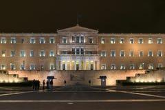 ATHEN, GRIECHENLAND - 20. JANUAR 2017: Nachtfoto des griechischen Parlaments in Athen, Griechenland Stockbild