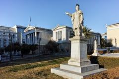 ATHEN, GRIECHENLAND - 19. JANUAR 2017: Panoramablick der Nationalbibliothek von Athen Lizenzfreie Stockfotos