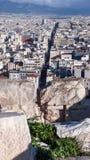 ATHEN, GRIECHENLAND - 20. JANUAR 2017: Panoramablick von Akropolis zu Stadt von Athen, Lizenzfreies Stockfoto