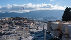 ATHEN, GRIECHENLAND - 20. JANUAR 2017: Panoramablick von Akropolis zu Stadt von Athen, Stockbild
