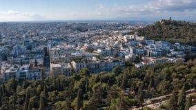 ATHEN, GRIECHENLAND - 20. JANUAR 2017: Panoramablick von Akropolis zu Stadt von Athen, Lizenzfreies Stockbild