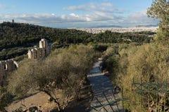ATHEN, GRIECHENLAND - 20. JANUAR 2017: Ruinen von Odeon von Herodes-Atticus in der Akropolise von Athen, Griechenland Lizenzfreie Stockfotografie