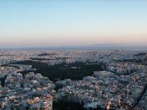 Athen, Griechenland von oben genanntem während des Sonnenuntergangs Lizenzfreies Stockbild