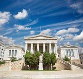 Athen - Nationalbibliothek entworfen vom dänischen Architekten Theophil Freiherr von Hansen (19 cent etwas körniges) Lizenzfreie Stockfotos