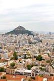 Athen-Stadtbild und Lycabettus Hügel stockbild