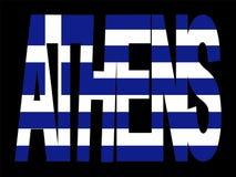 Athen-Text mit griechischer Markierungsfahne Stockfotografie