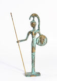 Athena. A small bronze statue of Athena on white background Royalty Free Stock Images
