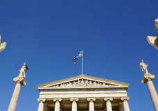 Athena and Apollo statue at Academy of Athens,Greece. Royalty Free Stock Photos