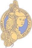 Athena com a coruja linha do círculo do circuito do ombro na mono ilustração stock