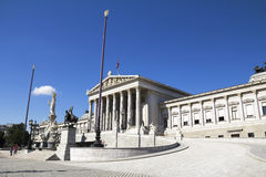Athena Fountain and Austrian Parliament Stock Images