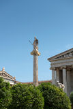 Athena in front of the Academy of Athens Royalty Free Stock Images