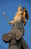 Athena god statue. In front of Athens unicersity during evening light Stock Image