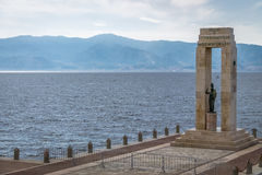 Athena goddess Statue and Monument to Vittorio Emanuele at Arena dello Stretto - Reggio Calabria, Italy. Athena goddess Statue and Monument to Vittorio Emanuele stock photo