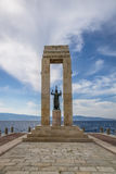 Athena goddess Statue and Monument to Vittorio Emanuele at Arena dello Stretto - Reggio Calabria, Italy. Athena goddess Statue and Monument to Vittorio Emanuele royalty free stock photography