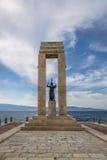 Athena goddess Statue and Monument to Vittorio Emanuele at Arena dello Stretto - Reggio Calabria, Italy. Athena goddess Statue and Monument to Vittorio Emanuele Royalty Free Stock Photography