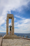 Athena goddess Statue and Monument to Vittorio Emanuele at Arena dello Stretto - Reggio Calabria, Italy. Athena goddess Statue and Monument to Vittorio Emanuele stock image