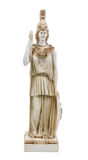 Athena Goddess of Wisdom. Statue of Athena, Goddess of Wisdom, holding a spear and shield on white isolated background stock photo