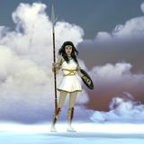 Athena Greek Goddess. Athena was the daughter of the Greek God Zeus and admired wisdom, courage and strategic warfare vector illustration
