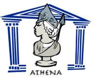 Athena,Minerva, Greek Goddes Cartoon Royalty Free Stock Images
