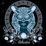 Athena nakreślenie odizolowywający na czarnym nightsky tle Zdjęcia Stock