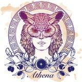 Athena nakreślenie odizolowywający na grunge tle Obraz Royalty Free