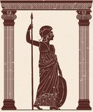 Athena Pallada com uma lança ilustração do vetor
