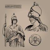 Athena Pallas Deusa do grego clássico da sabedoria, do artesanato, e da guerra Desenho da mão do esboço de Digitas ilustração do vetor