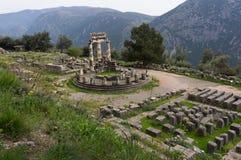 Athena Pronaia-heiligdom, Delphi, Griekenland Stock Afbeeldingen