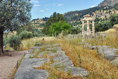 Athena Pronaia Sanctuary in Ancient Greek archaeological site of Delphi, Greece Royalty Free Stock Photography