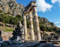 Athena Pronoia Temple på Delphi i Grekland Fotografering för Bildbyråer