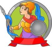 Athena que guarda uma lança em sua mão ilustração royalty free