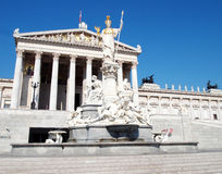 Athena statue and the Austrian parliament Royalty Free Stock Photography