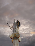 Athena statue, the goddess of wisdom and philosophy. Under cloudy sky royalty free stock photography