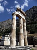 Athena Temple. Ruins of Athena temple at Delphy at sunny summer day Stock Image